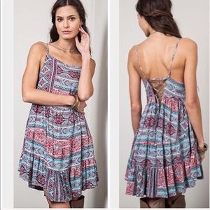 Umgee Webster Style Open Back Dress Bohemian Small